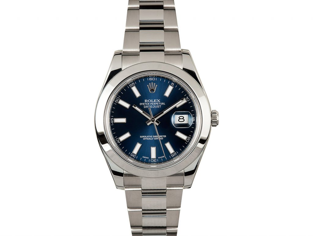 The blue dial on the Datejust 116300 is a crowd pleaser