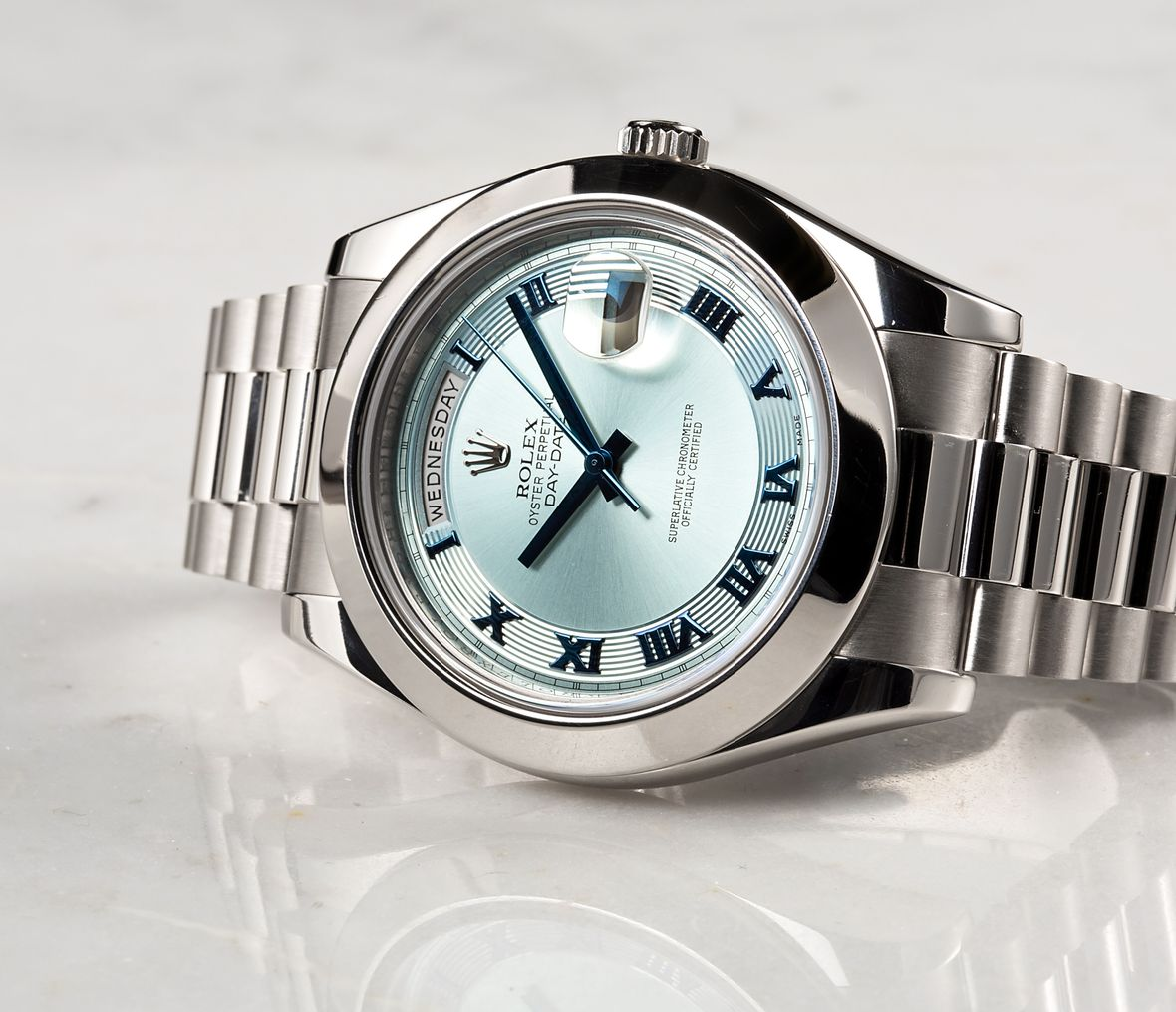 Rolex Platinum Day-Date II President 218206 Ice Blue Dial