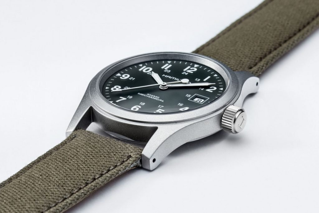 Hamilton Khaki Field Mechanical watch with canvas watch strap
