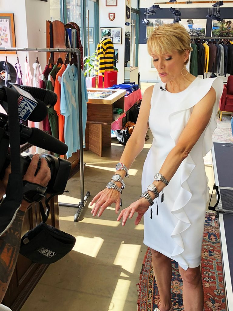 Gerri Willis from Fox Business News trying on a few of our watches