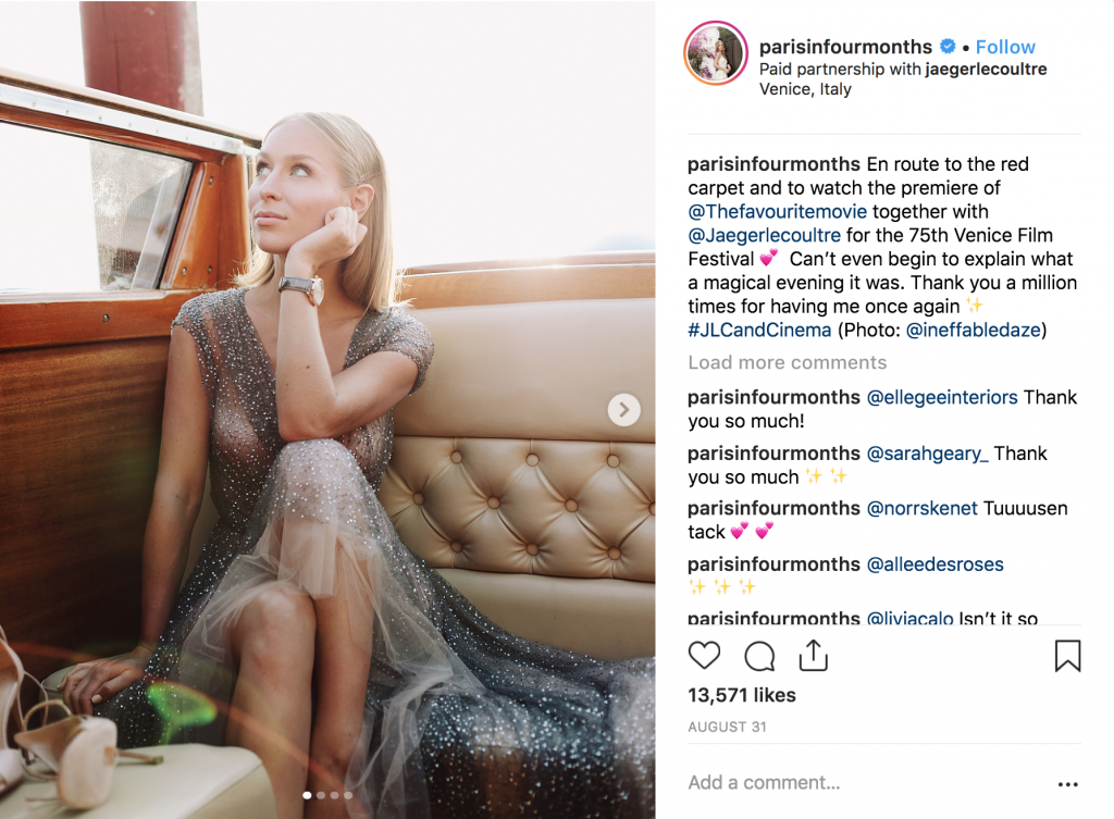 Carin Olsson representing millennials for Jaeger LeCoultre on Instagram