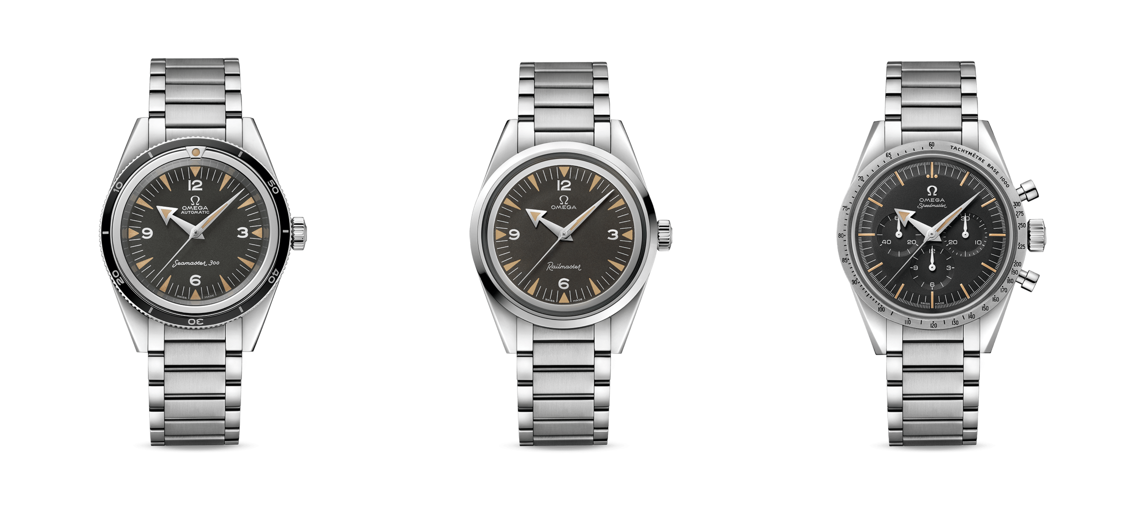 In 1957, OMEGA released three professional timepieces that would all go on to become absolute classics: The Seamaster 300, the Railmaster and the Speedmaster.