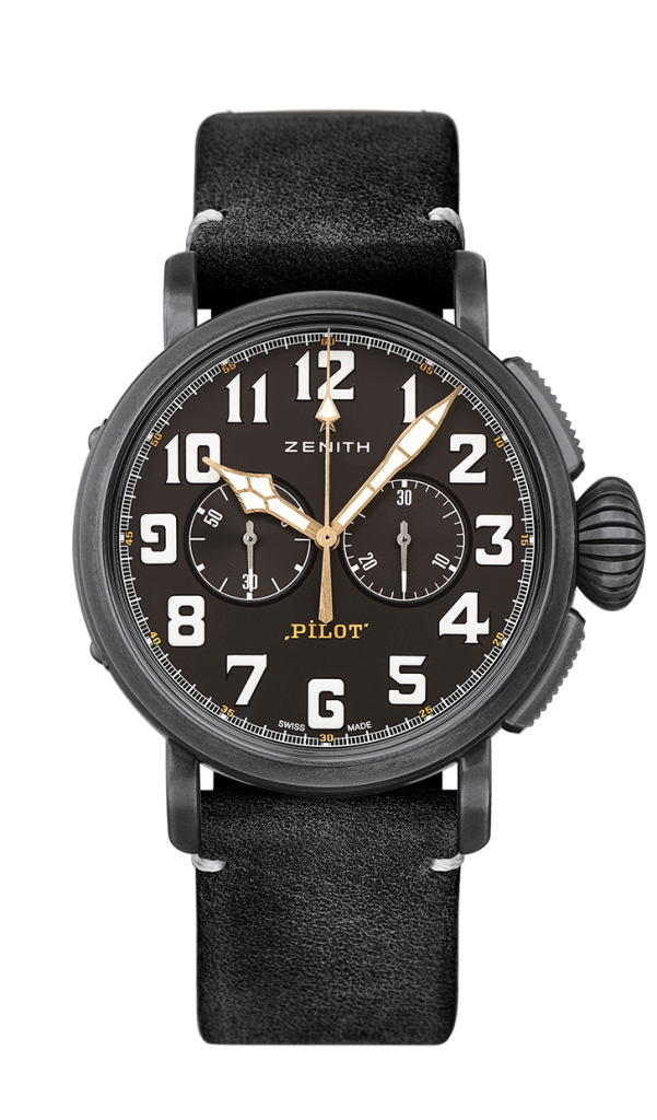 This moto-themed Pilot 20 watch from Zenith has a distinctly different feel than their other works