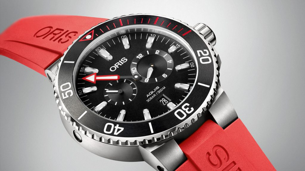 The Oris Aquis Meistertaucher on a rubber strap