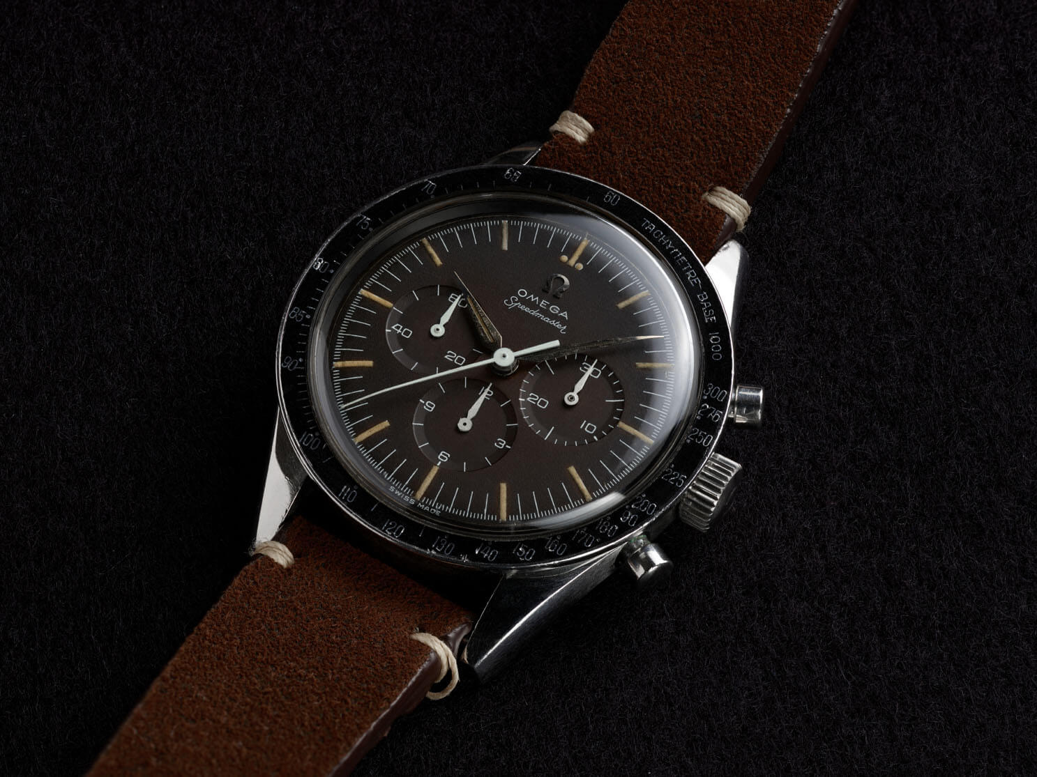 Omega Speedmaster history: in 1958 the speedy had Alpha Hands (photo courtesy of Omega)