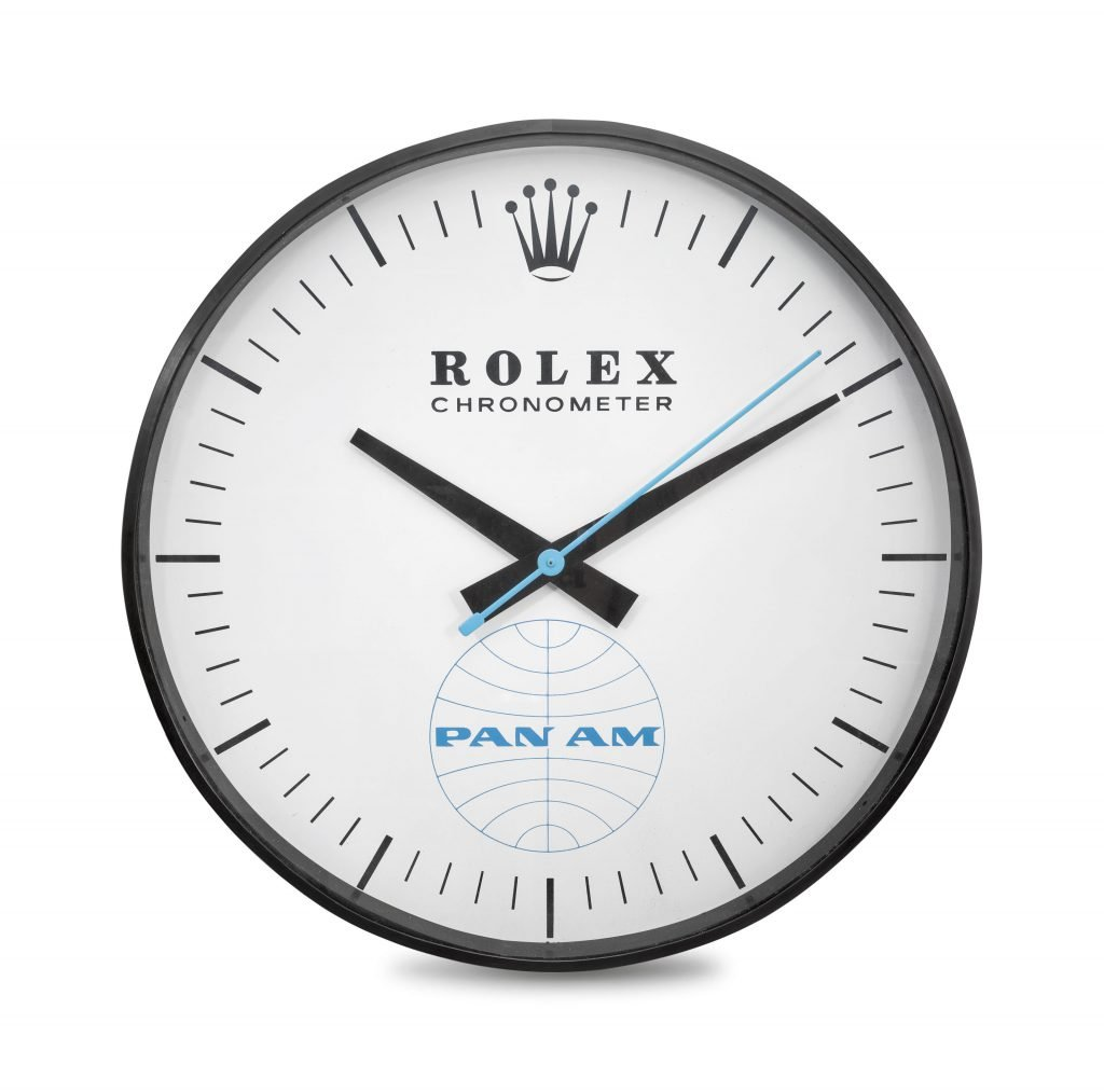 This unique wall clock from Rolex for Pan Am will be going under the hammer (photo courtesy of Christies)