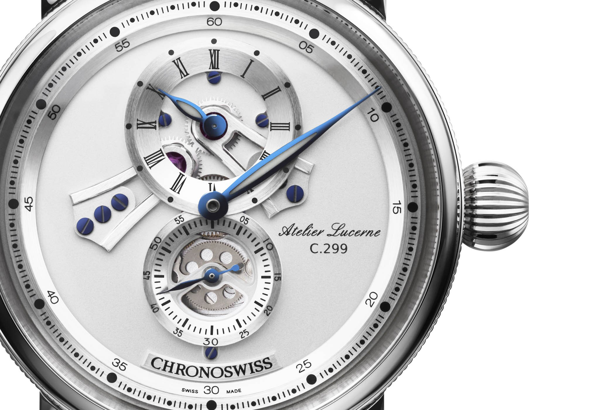 The dial of the Chronoswiss Flying Regulator Open Gear