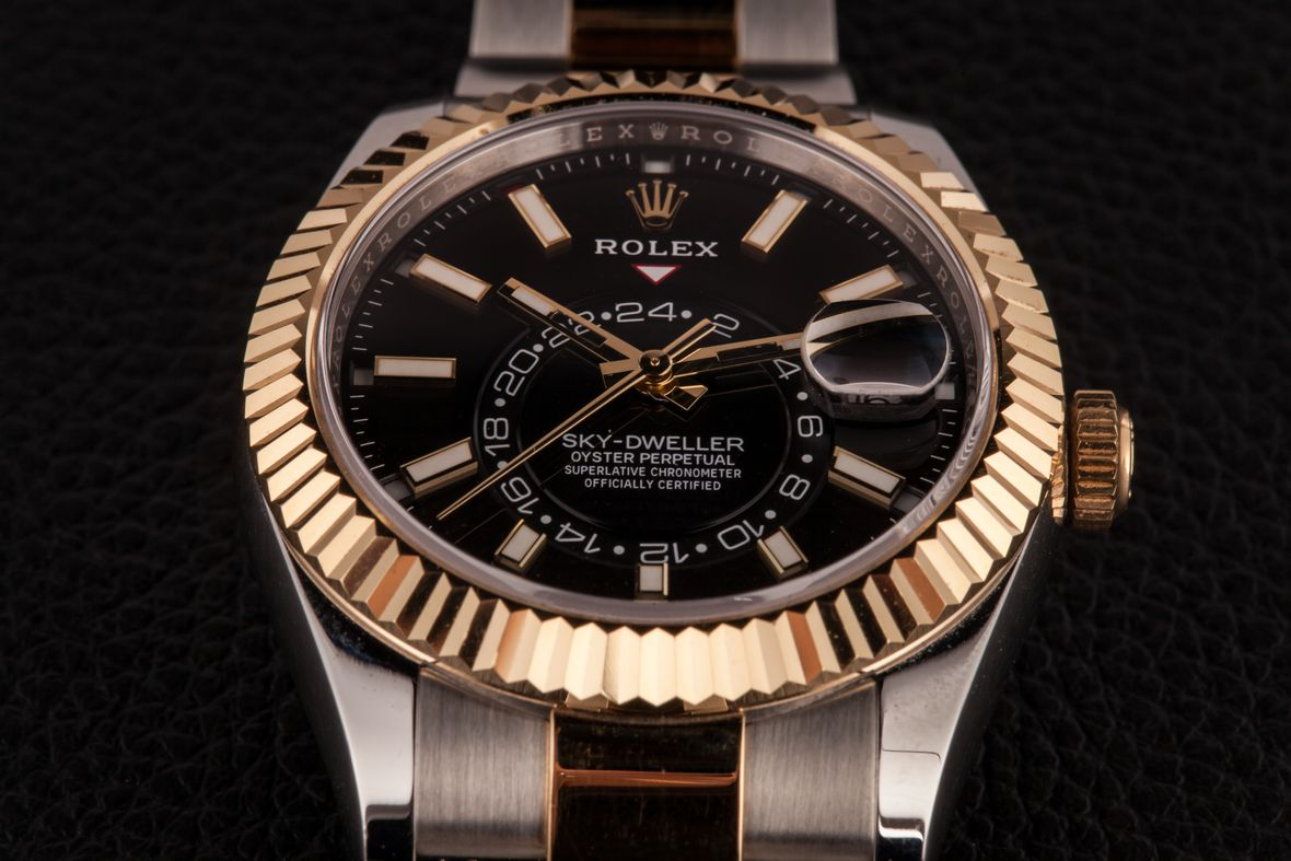 Two-Tone Steel and Gold Rolex Sky-Dweller 326933 Black Dial