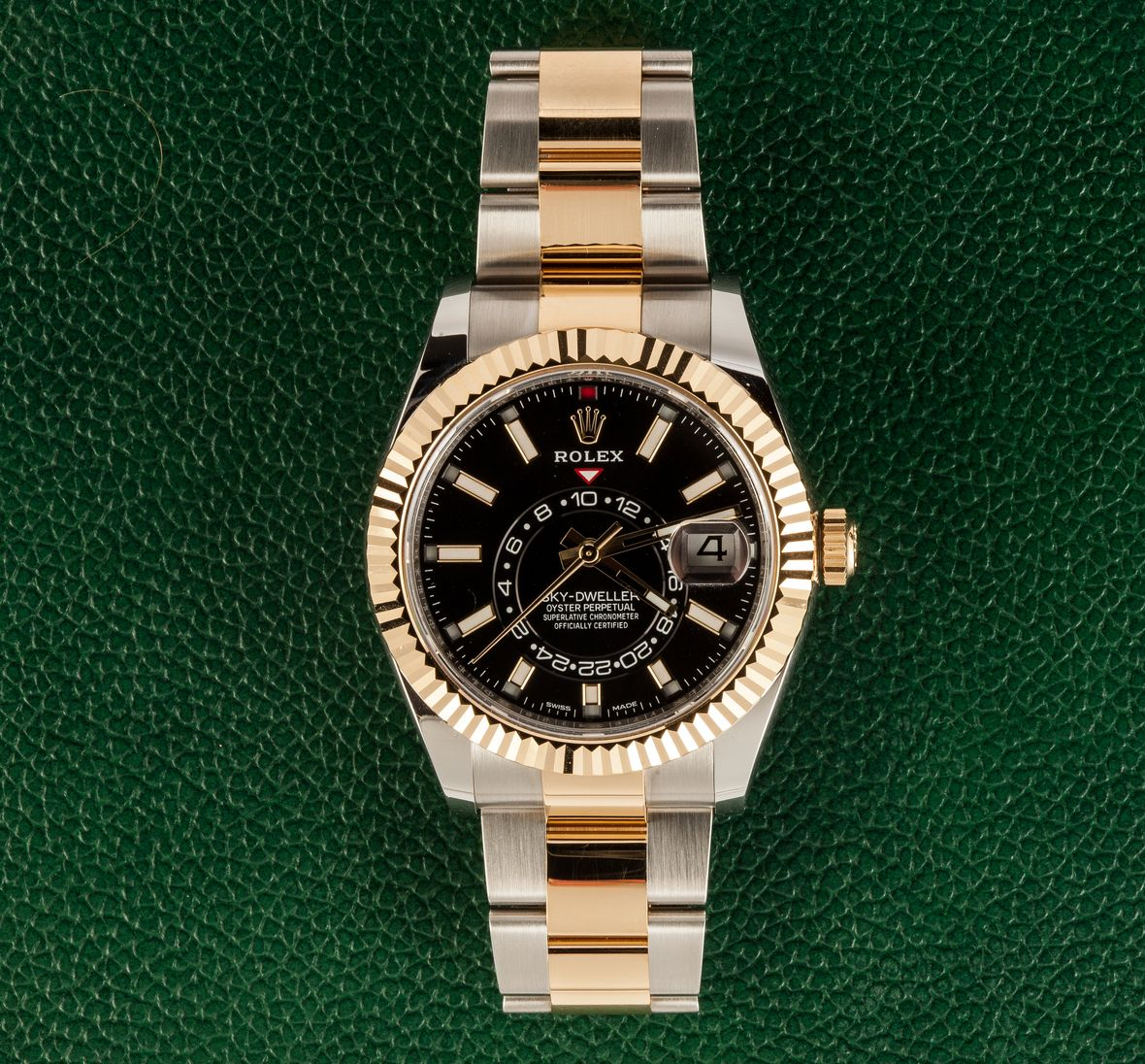 Two-Tone Rolex Sky-Dweller 326933 Steel and Gold Black Dial