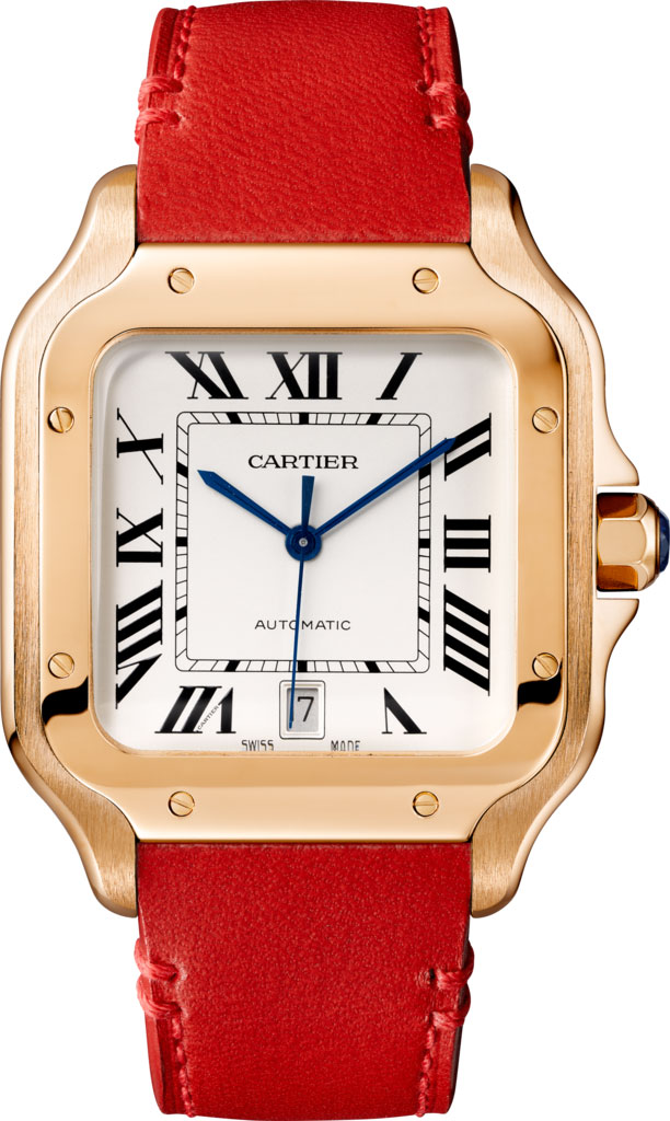 Cartier Rose Gold De Santos with Red Strap