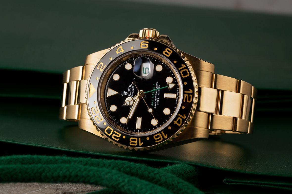 Yellow Gold Rolex GMT-Master II 116718 Black Dial Ceramic Bezel Green GMT Hand