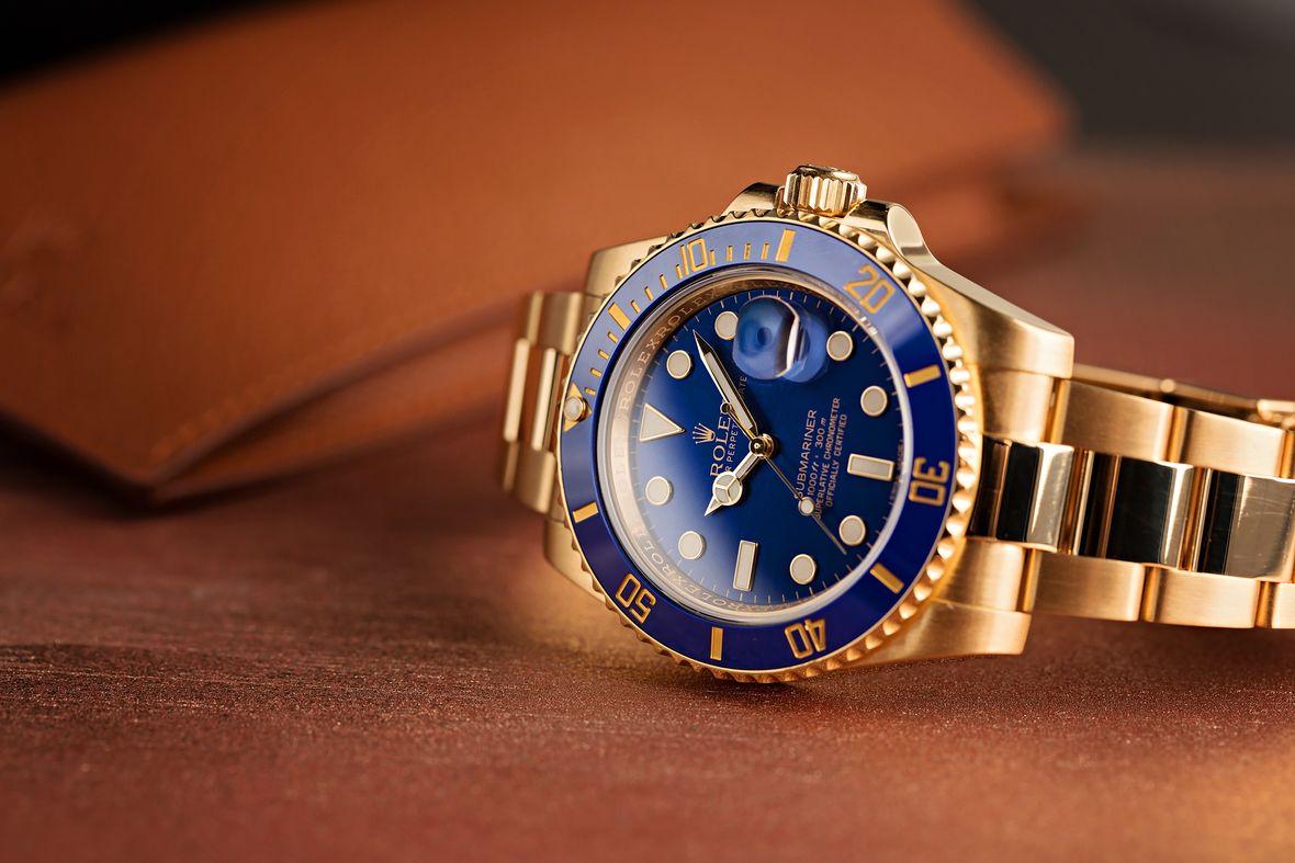 Yellow Gold Rolex Submariner 116618 Blue Dial Ceramic Bezel