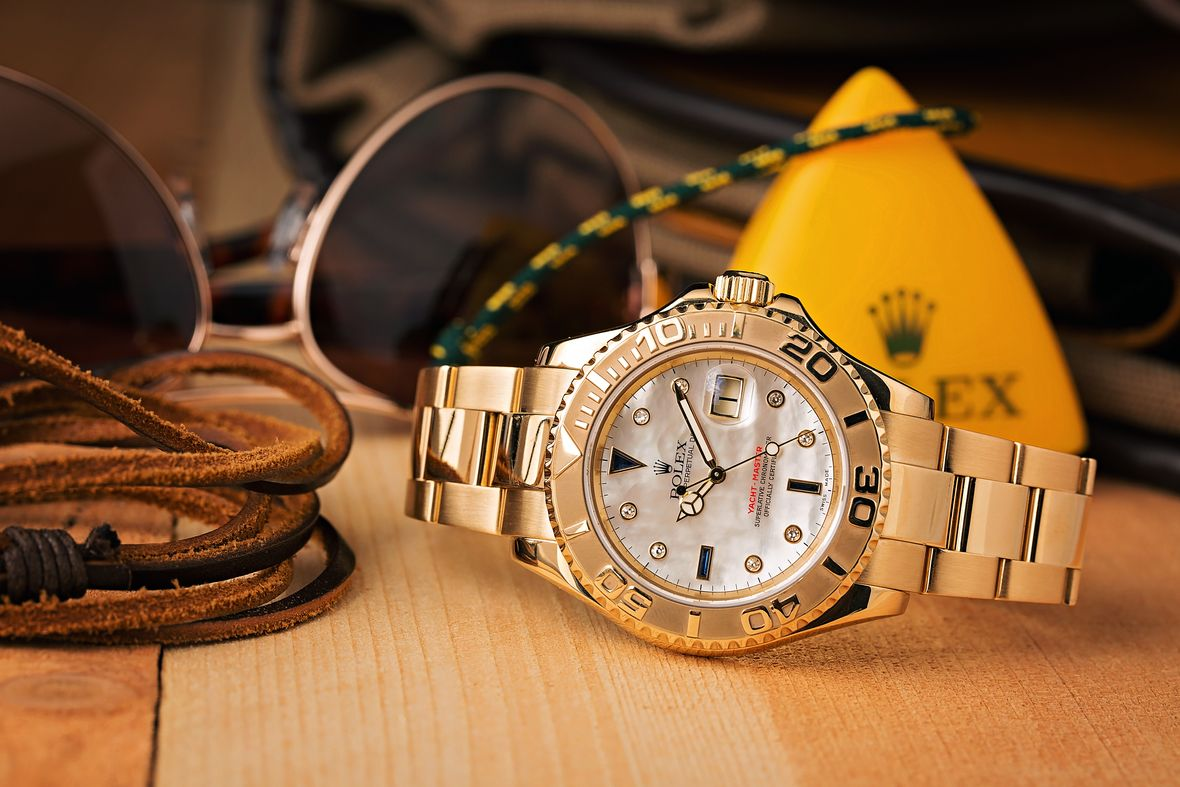 Yellow Gold Rolex Yacht-Master 16628 Mother of Pearl Dial Diamond Sapphire Markers
