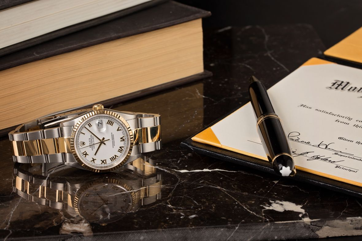 two-tone rolex watches datejust 16233 Oyster Bracelet White Roman Dial