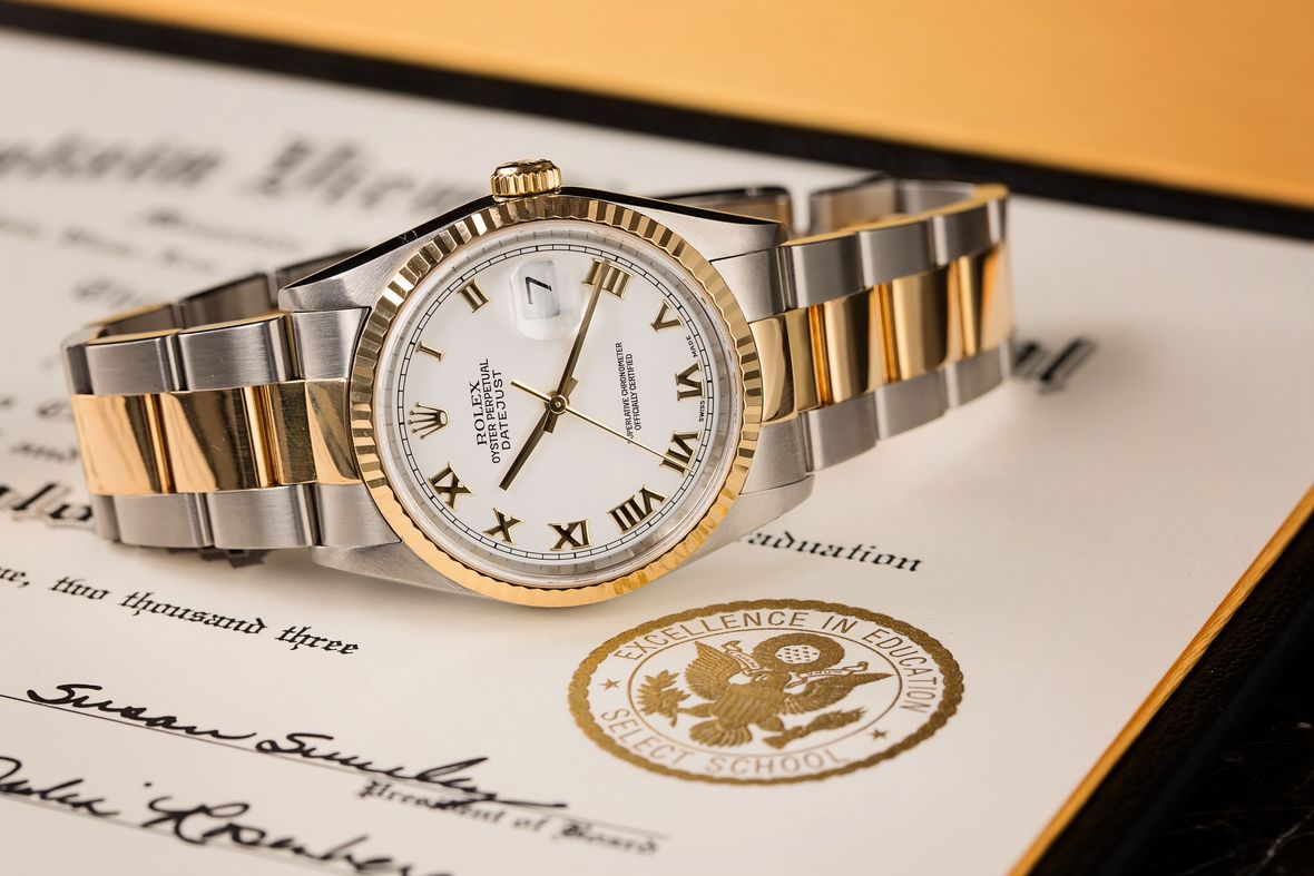 two-tone rolex watches datejust 16233 White Roman Dial