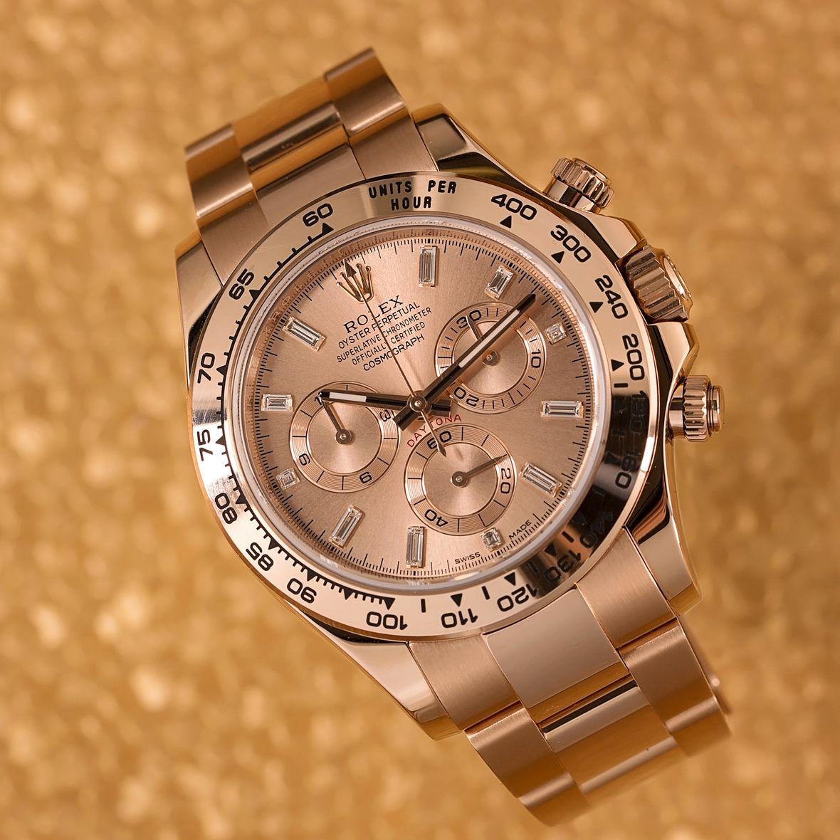 Rolex Daytona 116505 Everose Gold Baguette Diamond Dial