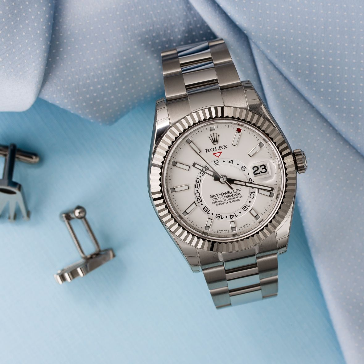 Stainless Steel Rolex Sky-Dweller How to Set 326934 White Rolesor