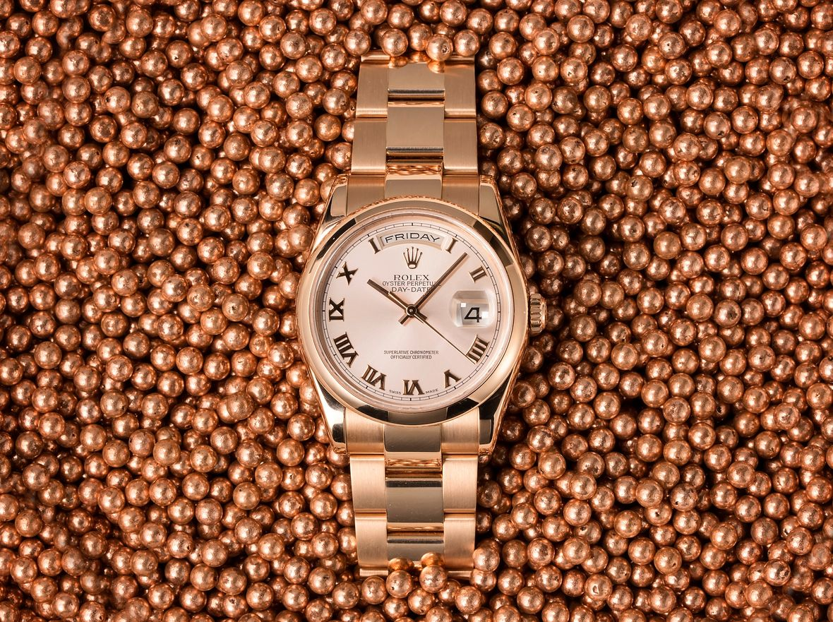 Rolex Reference Numbers Letters Guide Day-Date 118205 Everose Roman Dial