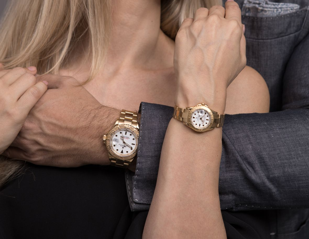 Gold Rolex Yacht-Master Sizes His and Her