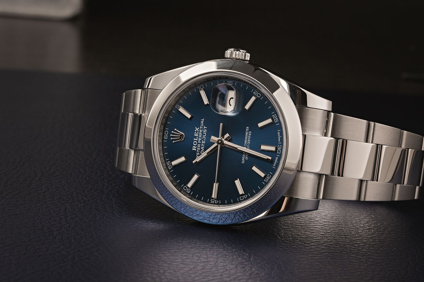 Stainless Steel Rolex Oyster Perpetual Datejust Blue Dial