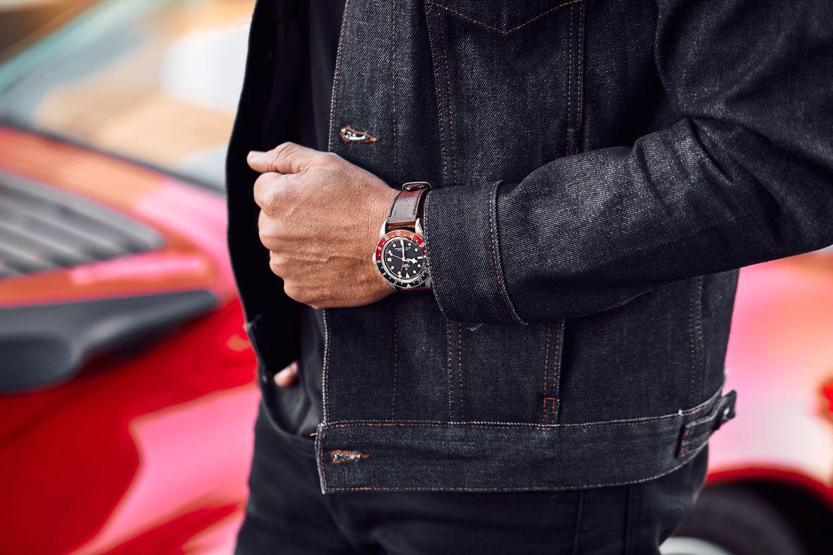 GMT Watches Tudor Pepsi Black Bay Leather Strap