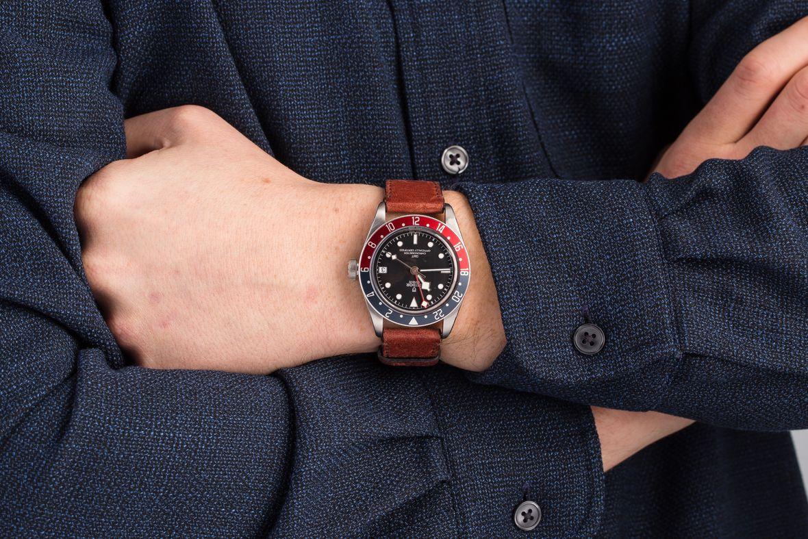 GMT Watches Tudor Black Bay Pepsi Leather Strap