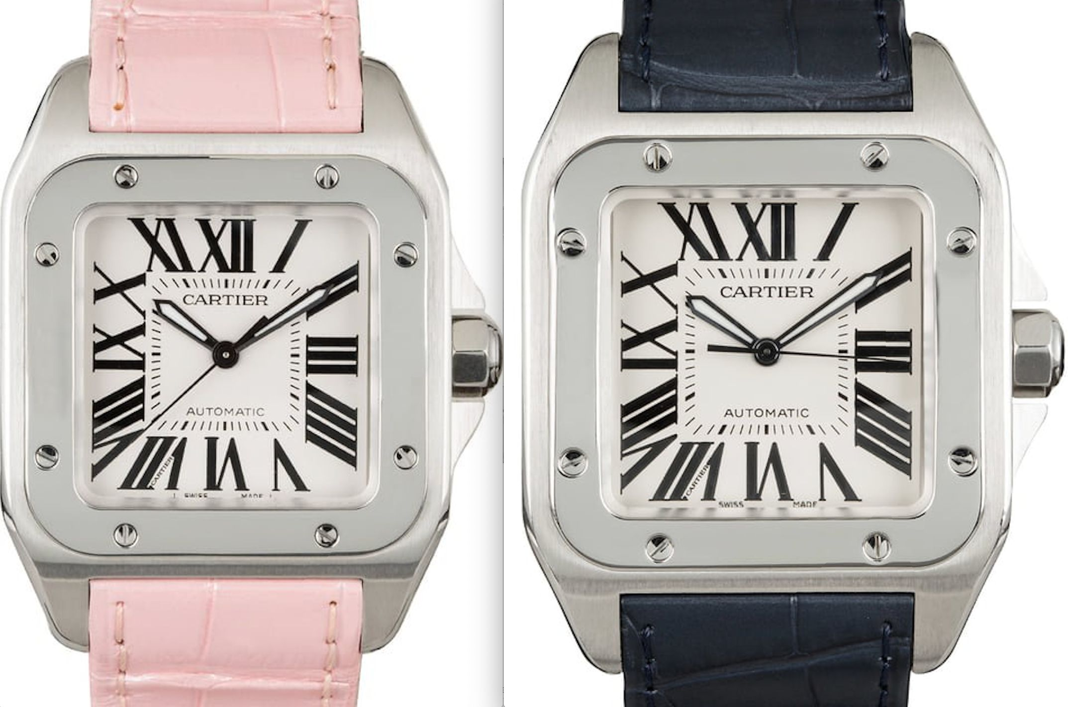 A Perfect Pair: His & Her Cartier Santos 100 Watches