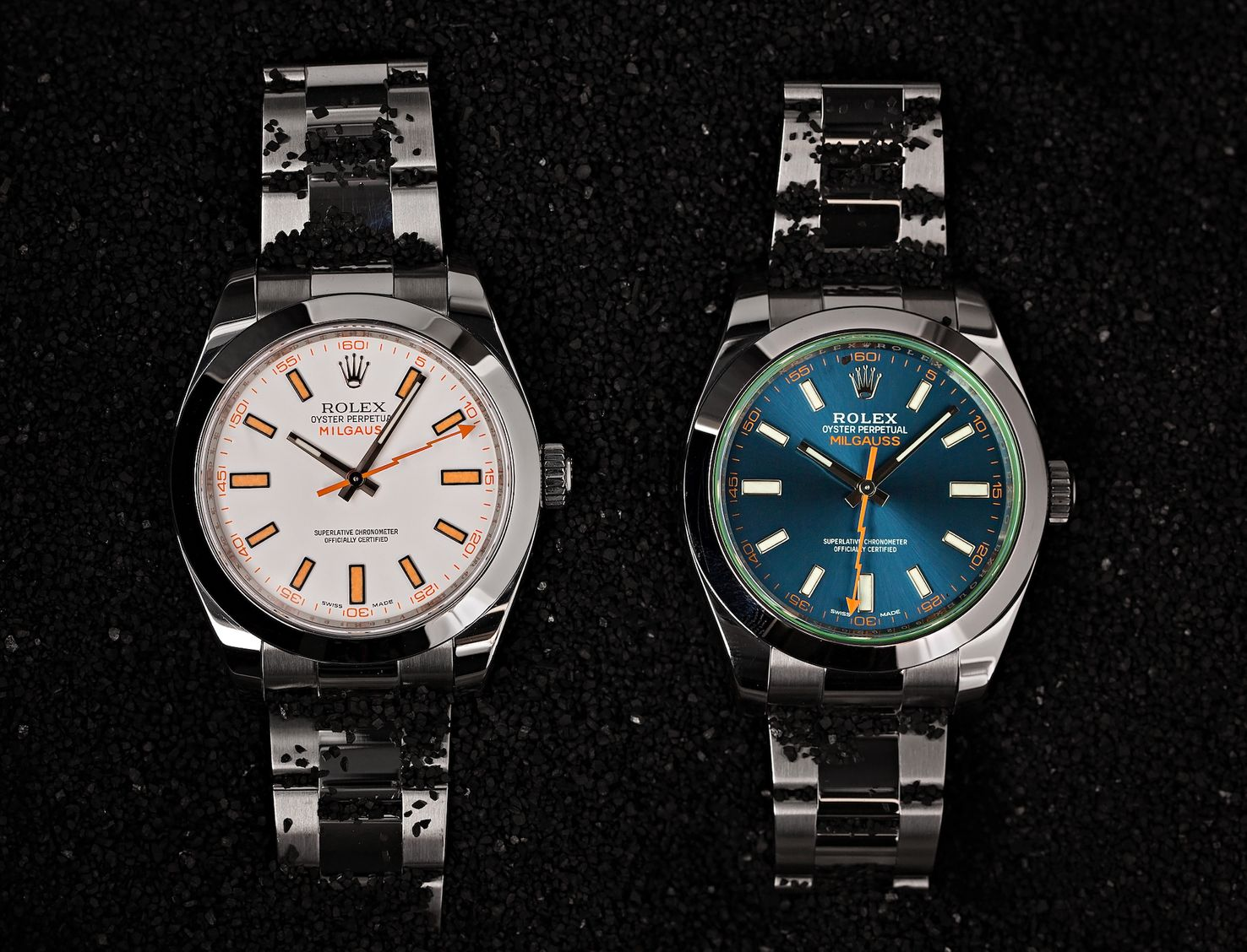 Rolex Milgauss 116400 Z-Blue vs White Dial