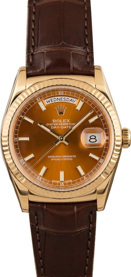fall fashion Watches - Rolex Day-Date 118138 Cognac Dial