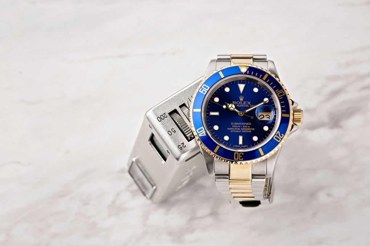 Blue Rolex Submariner Two-Tone 16613