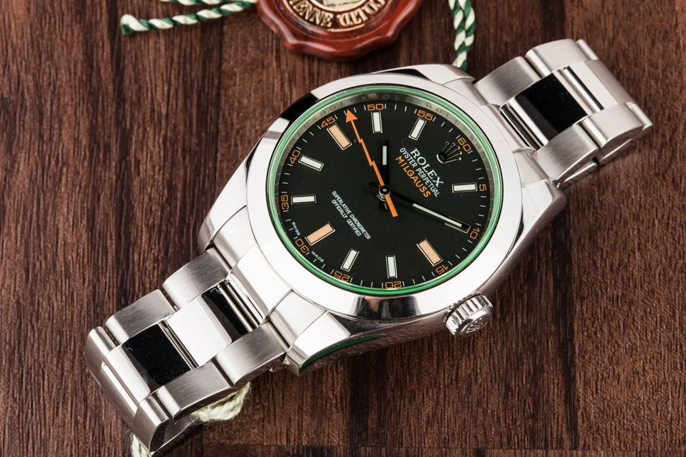 green sapphire Rolex Milgauss 116400GV 50th Anniversary