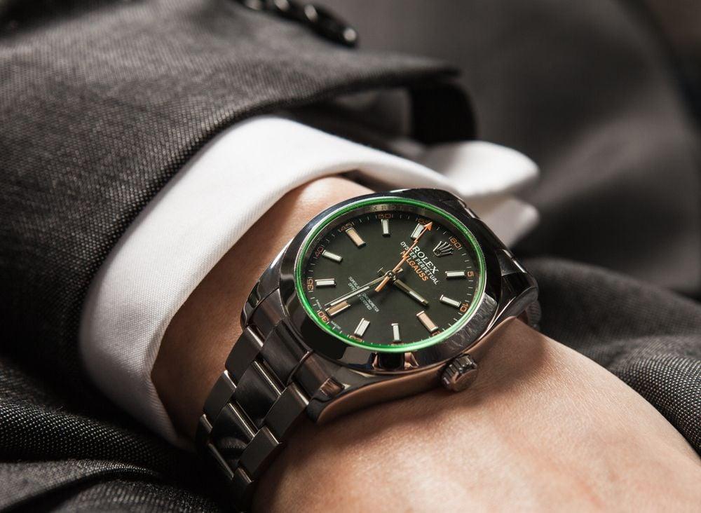 green crystal Rolex Milgauss 116400GV 50th Anniversary
