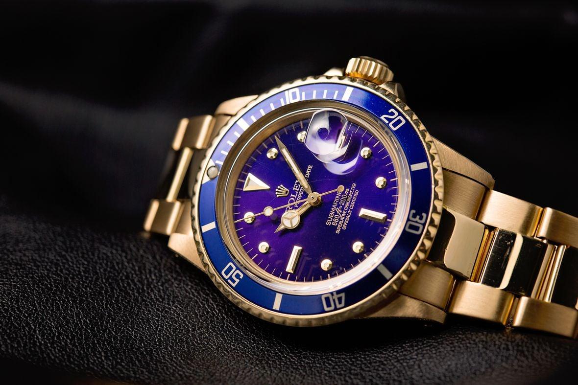 Rolex Submariner Blue 1680/8 18k Yellow Gold 1680