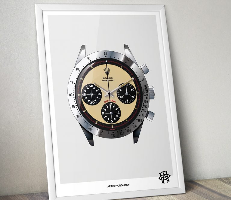 watch themed gifts for men Art of Horology Print - Paul Newman Daytona