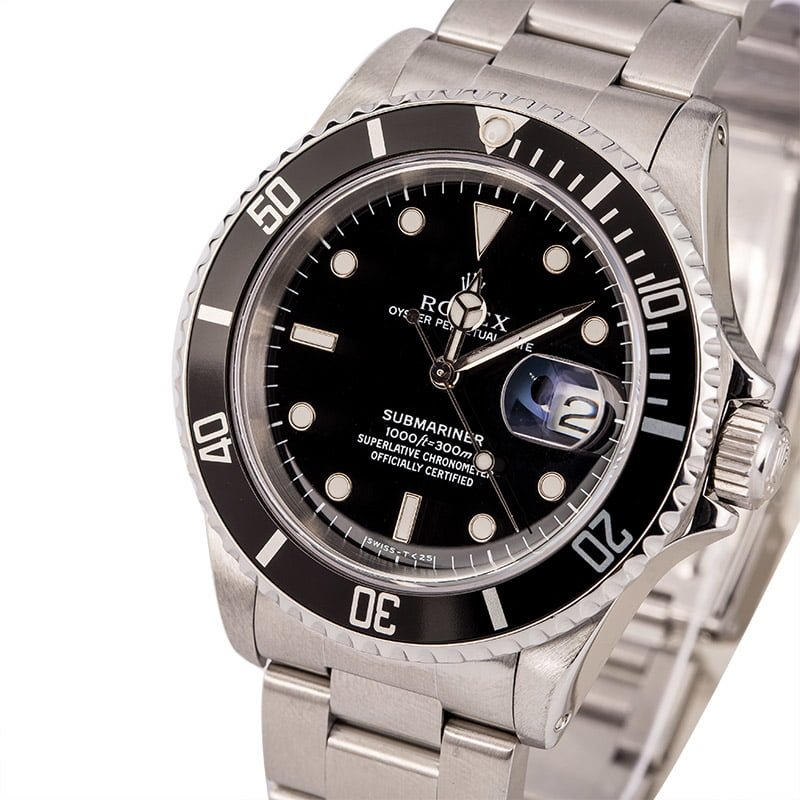 Rolex Submariner reference 16610 Gloss Dial White Gold Hour markers