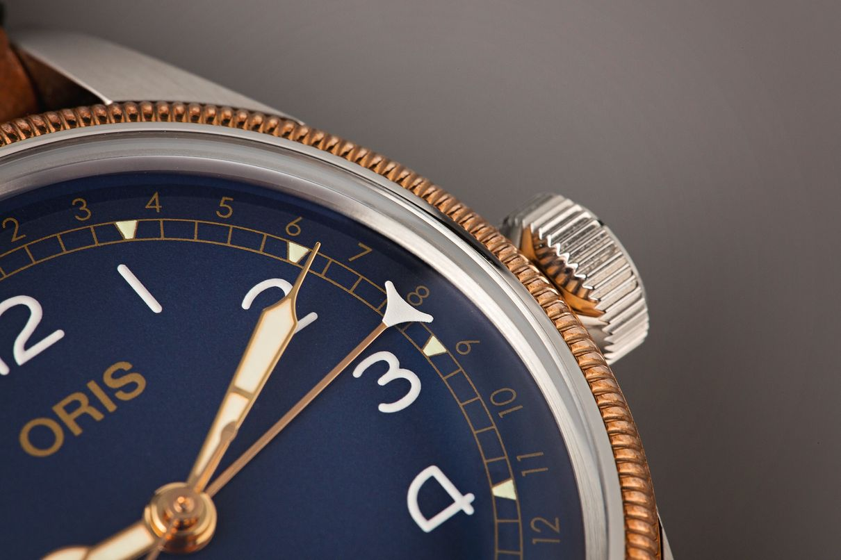Two-tone Oris Pointer Date Big Crown Review