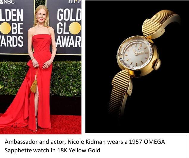 Omega Watches at the Golden Globes Nicole Kidman Vintage Sapphette