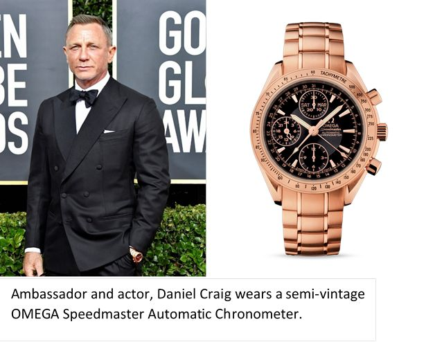 Omega Watches at the Golden Globes Daniel Craig Speedmaster