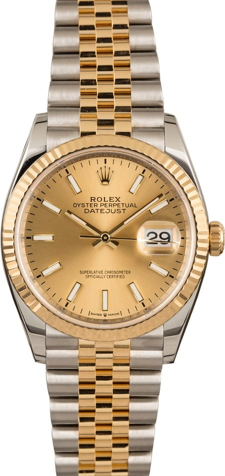 Rolex watches for men sizing guide Datejust 36 two-tone 126233
