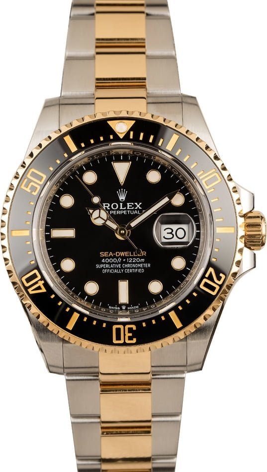 Rolex watches for men size guide two-tone Sea-Dweller 126603 steel and gold