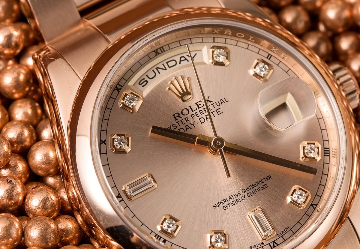 Who sells Used Rolex Watches? Everose gold Day-Date 118205 Diamond Dial