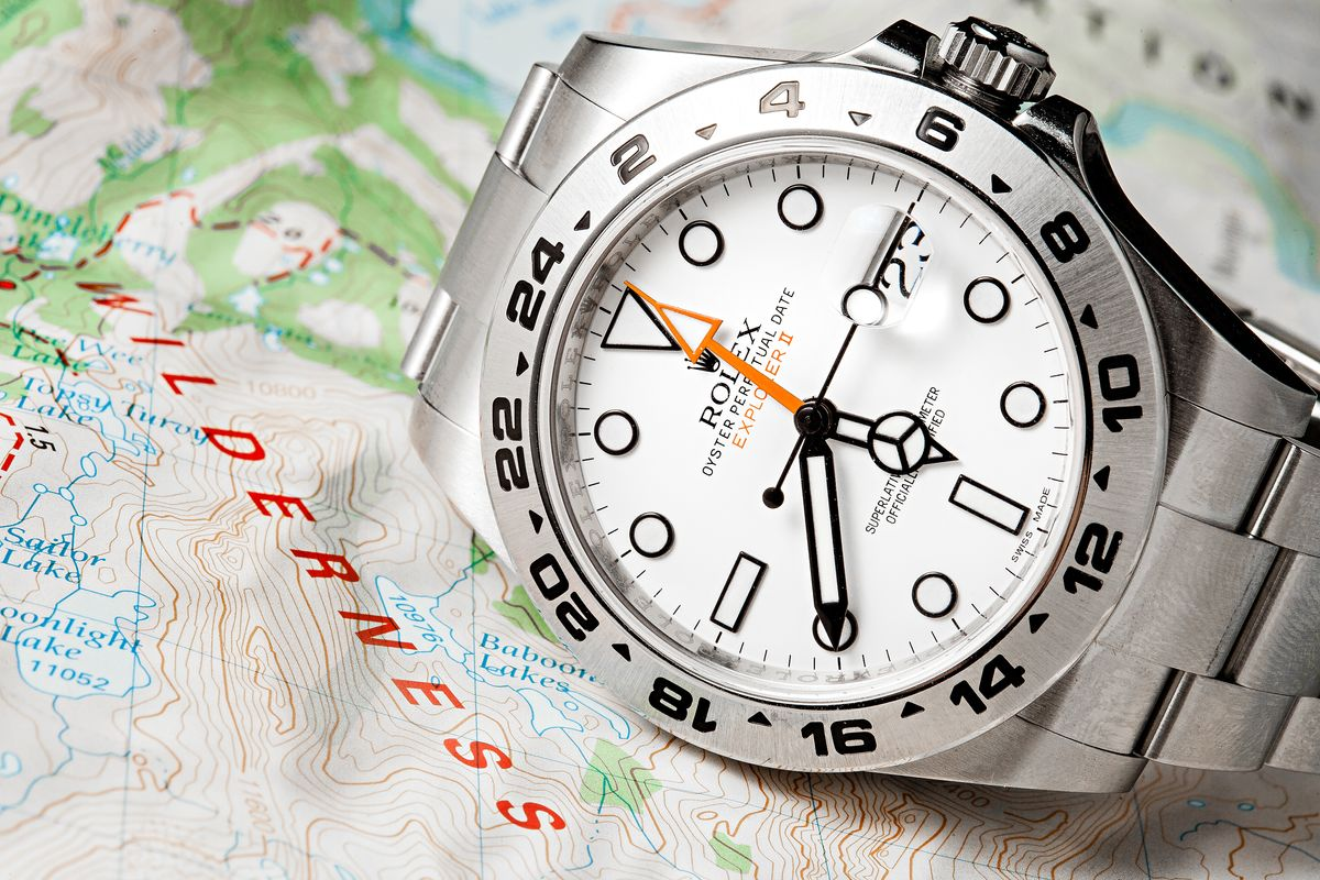 Using the Rolex Explorer II as GMT Watch White Dial Polar