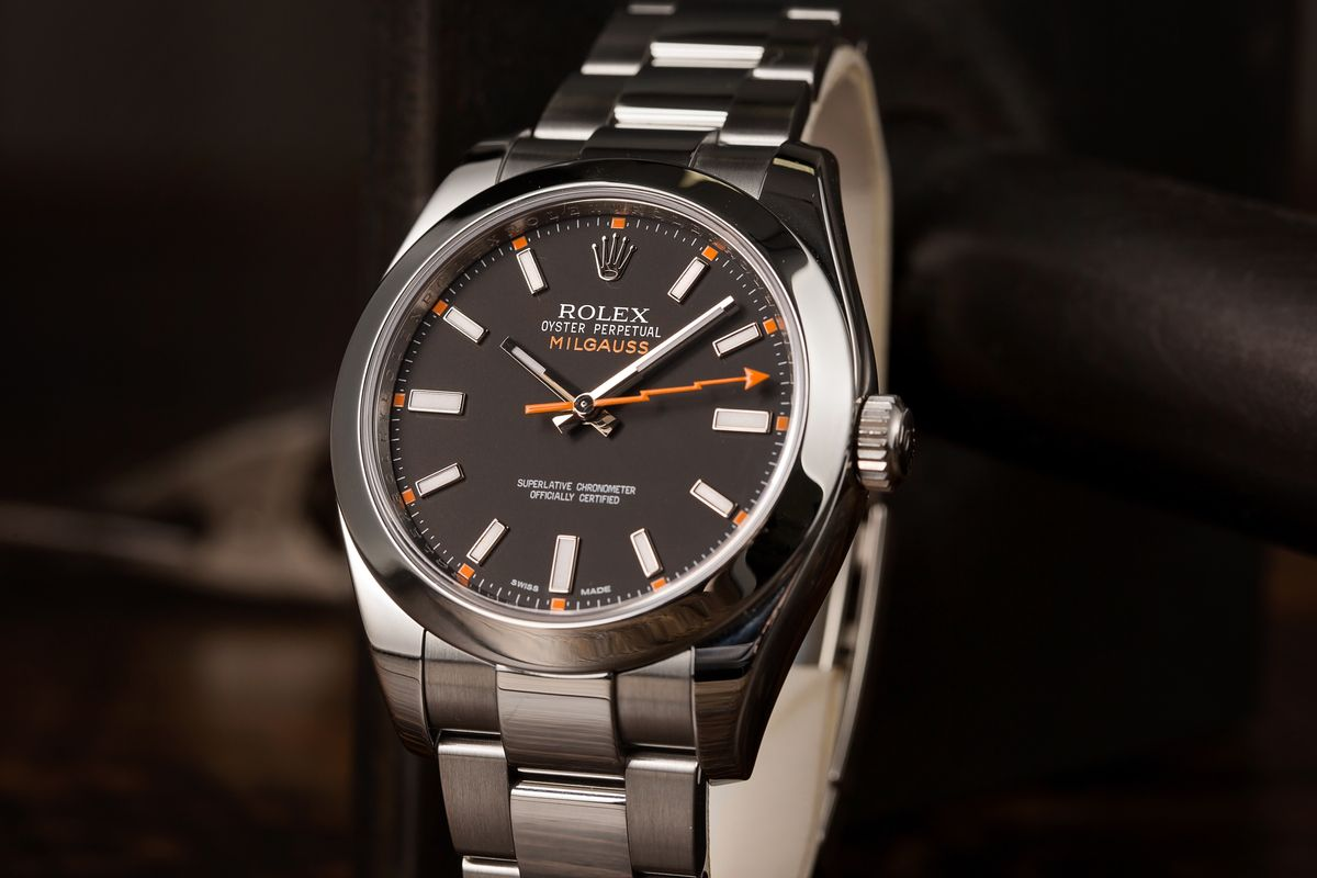 Rolex Milgauss Invest 116400 Black Dial Orange seconds hand lightning bolt