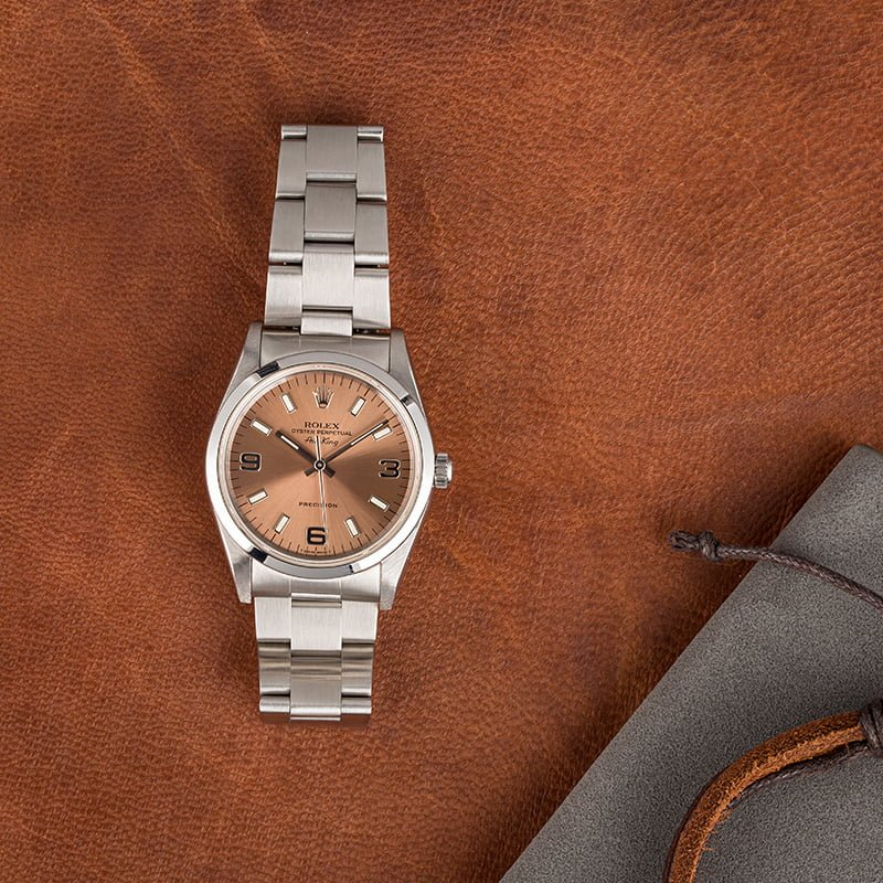 Stainless steel Rolex Air-King 14000 salmon dial