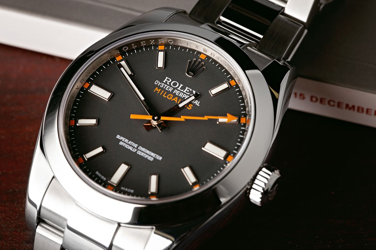 Clear Crystal Rolex Milgauss Watches Discontinued? 116400 Black Dial