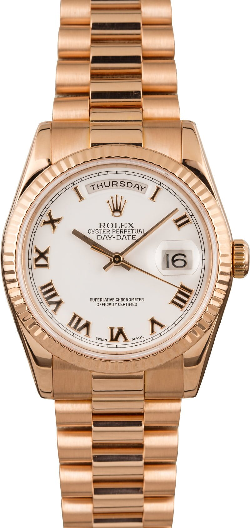 Everose Rolex Spring 2020 Fashion Official Style Guide Day-Date Presidential 118235 White Roman Dial