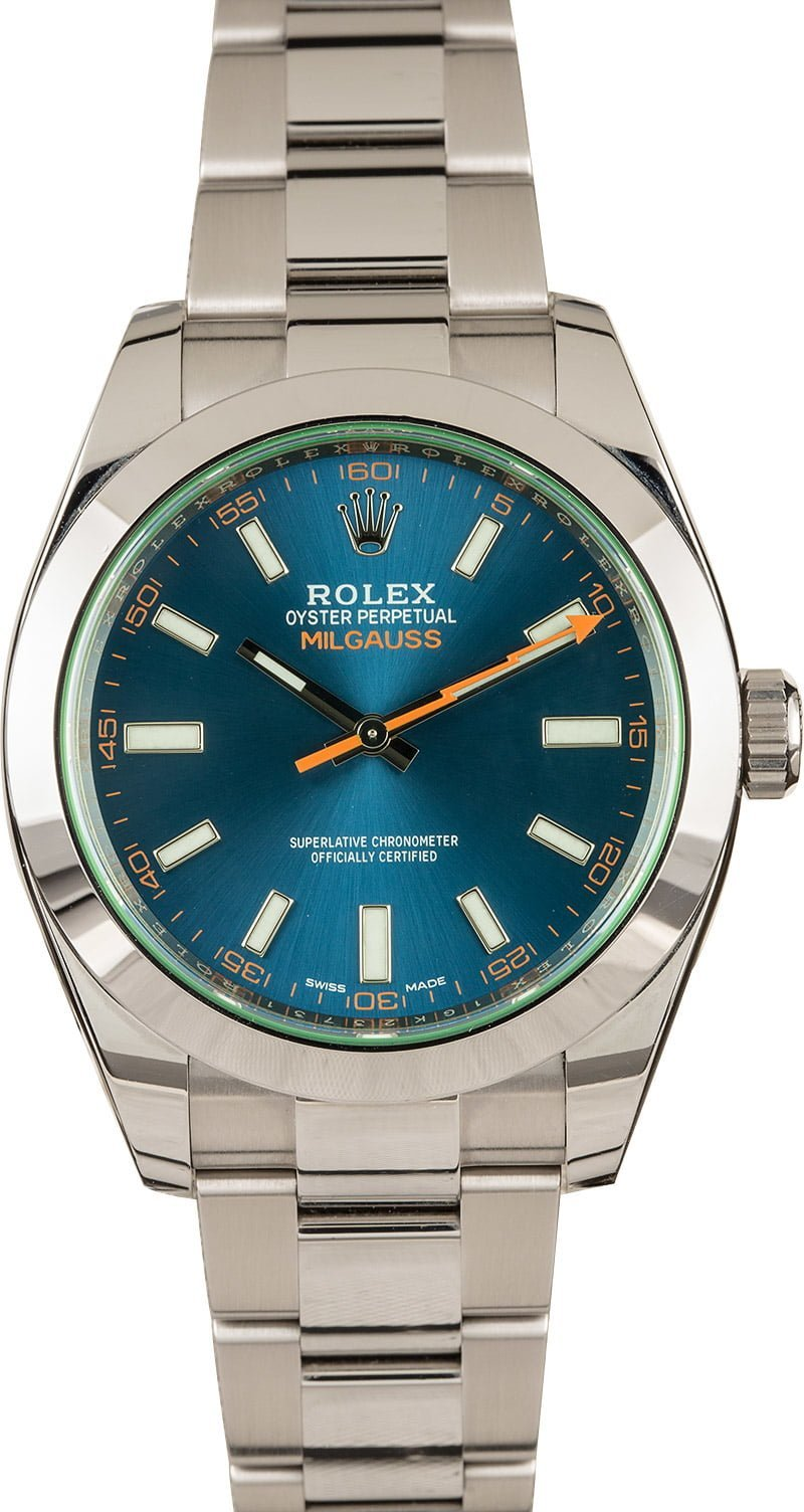 Stainless Steel Rolex Spring Fashion 2020 Official Style Guide Milgauss 116400GV Z-Blue Dial Green Sapphire