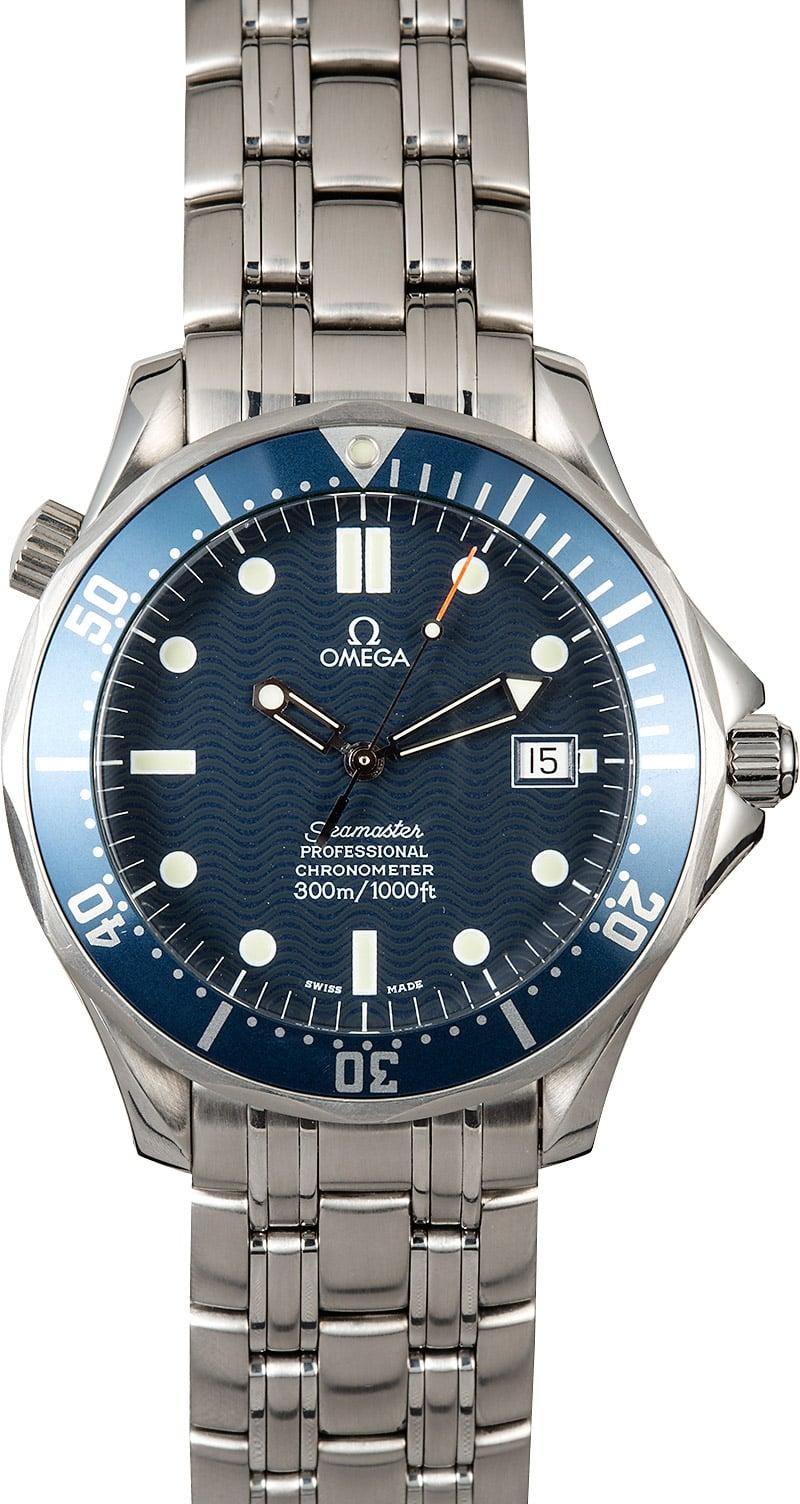 James Bond Omega Seamaster Diver 300M 007 Wave Dial Blue Dive Watch