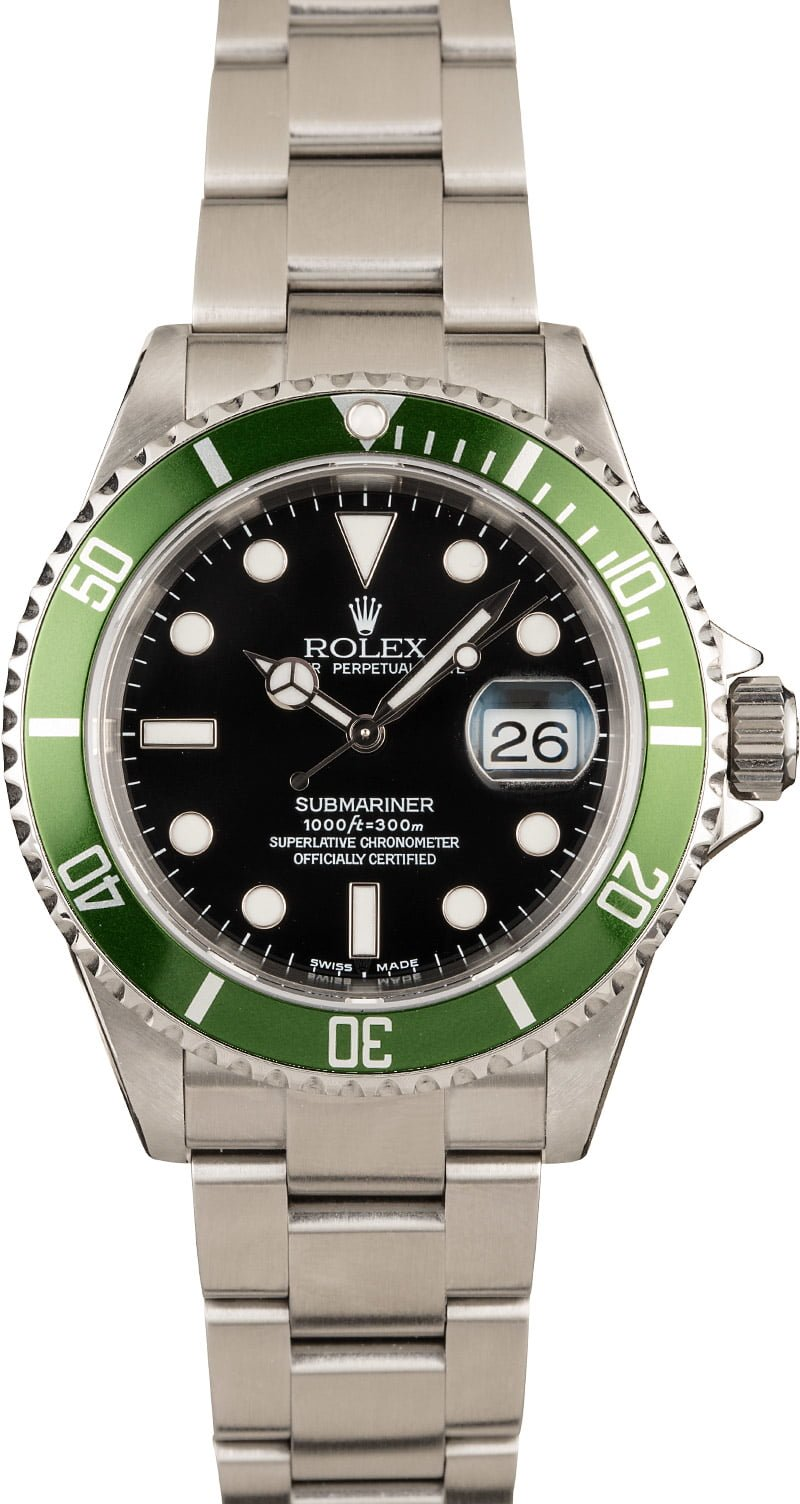 Rolex Watches for Women Who Dive Green Submariner 16610LV