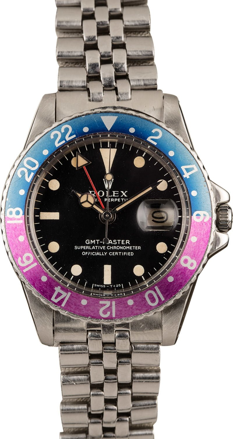Vintage Rolex Spring 2020 Fashion Official Buying Guide GMT-Master 1675 FuchsiaPepsi Bezel Matte Dial Tritirum